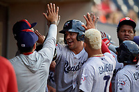 Reading Fightin Phils Darick Hall (13) high fives teammates after hitting a home run during an Eastern League game against the Akron RubberDucks on June 4, 2019 at Canal Park in Akron, Ohio.  Akron defeated Reading 8-5.  (Mike Janes/Four Seam Images)