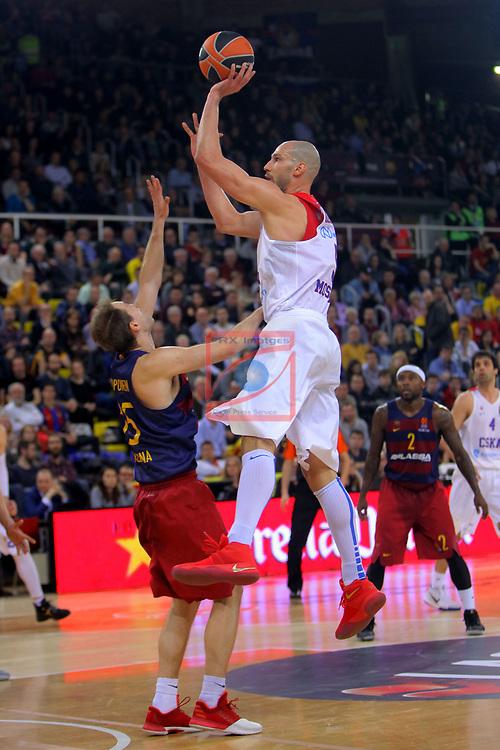 Turkish Airlines Euroleague 2016/2017.<br /> Regular Season - Round 24.<br /> FC Barcelona Lassa vs CSKA Moscow: 61-85.<br /> Petteri Koponen vs James Augustine.