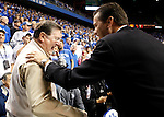 UK head coach John Calipari talks with former head coach Joe B. Hall before the Blue and White scrimmage at Rupp Arena Wednesday night..Photo by Zach Brake | Staff