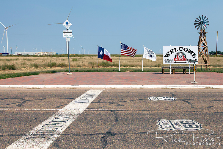 The midpoint of Route 66 is in Adrian, Texas, and is 1139 miles from Chicago and and 1139 miles from Los Angeles