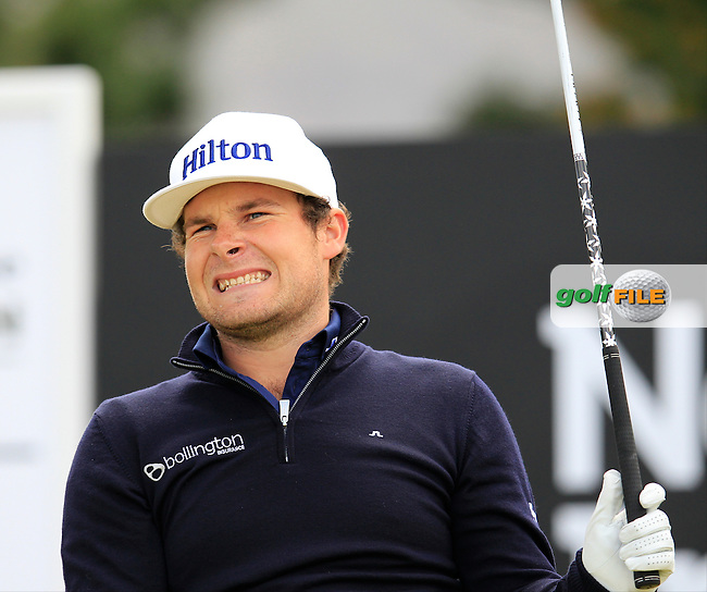 Tyrrell HATTON (ENG) tees off the 1st tee to start his round during Sunday's Final Round of the 2015 Dubai Duty Free Irish Open, Royal County Down Golf Club, Newcastle Co Down, Northern Ireland 5/31/2015.<br /> Picture Eoin Clarke, www.golffile.ie