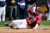 South Carolina catcher Trent Cline (7) scores a run versus LSU at Sarge Frye Stadium in Columbia, SC, Thursday, March 18, 2007.