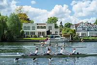 Maidenhead. Berkshire. United Kingdom. General view, Umpires launch moves in to position to umpire a JM4X in the opening strokes of their heat on the course of the 2017 Maidenhead Junior Regatta  River Thames. <br /> <br /> [&copy;Peter SPURRIER/Intersport Images] Sunday. 14.05.2017