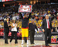 Greivis Vasquez pumps up the crowd during Senior Night at the Comcast Center  prior to the last home game of the season against the Duke Blue Devils  in College Park, MD on Wednesday, March 3, 2010. Alan P. Santos/DC Sports Box