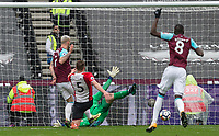 Marko Arnautovic of West Ham United scores as goal to make it 2-0 during the EPL - Premier League match between West Ham United and Southampton at the Olympic Park, London, England on 31 March 2018. Photo by Andy Rowland.