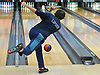 Zane Lipson of Hewlett rolls a frame during a Nassau County boys bowling match against Seaford at Baldwin Lanes on Monday, Dec. 18, 2017.