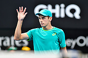 10th January 2018, Sydney Olympic Park Tennis Centre, Sydney, Australia; Sydney International Tennis, round 2; Alex De Minaur (AUS) wins his match as Damir Dzumhur (BIH) retires
