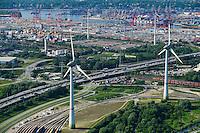 DEUTSCHLAND Hamburg Hafen, zwei Enercon E-126 mit 6 MW Windkraftanlagen in Altenwerder vor Hafen / GERMANY Hamburg Altenwerder, 6 MW Enercon E-126 windmill in front of harbour