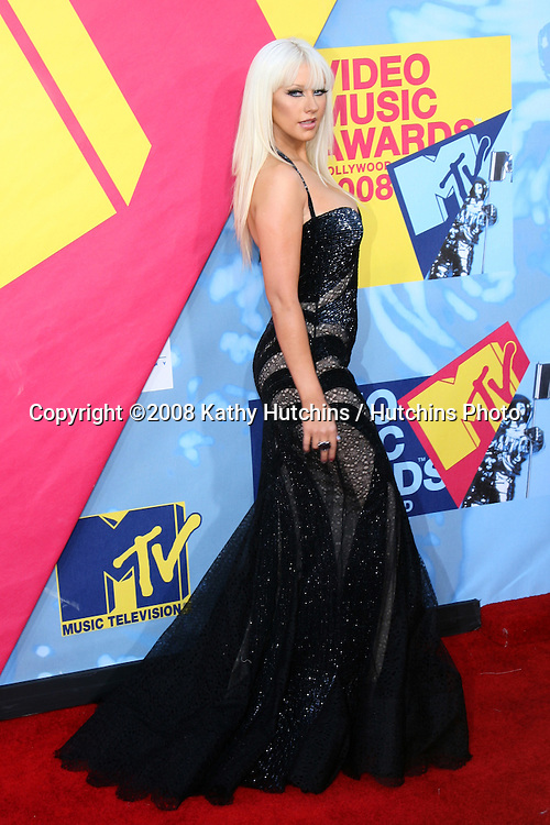 Christina Aguilera  arriving at  the Video Music Awards on MTV at Paramount Studios, in Los Angeles, CA on.September 7, 2008.©2008 Kathy Hutchins / Hutchins Photo....