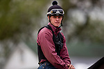 LOUISVILLE, KENTUCKY - APRIL 30: Exercise rider Taylor Cambra aboard Omaha Beach after completing preparation for the Kentucky Derby at Churchill Downs in Louisville, Kentucky on April 30, 2019. Evers/Eclipse Sportswire/CSM