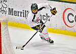 29 January 2012: University of Vermont Catamount defenseman Megan Dalbec, a Sophomore from Champlin, MN, in action against the University of New Hampshire Wildcats at Gutterson Fieldhouse in Burlington, Vermont. The Lady Cats, dressed in their Breast Cancer Awareness jerseys, edged out the Wildcats 2-1 to split their Hockey East twin-game weekend series. Mandatory Credit: Ed Wolfstein Photo