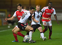 Fleetwood Town's Ashley Nadesan battles with Morecambe's Luke Conlan<br /> <br /> Photographer Dave Howarth/CameraSport<br /> <br /> EFL Checkatrade Trophy - Northern Section Group A - Fleetwood Town v Morecambe - Tuesday 3rd October 2017 - Highbury Stadium - Fleetwood<br />  <br /> World Copyright &copy; 2018 CameraSport. All rights reserved. 43 Linden Ave. Countesthorpe. Leicester. England. LE8 5PG - Tel: +44 (0) 116 277 4147 - admin@camerasport.com - www.camerasport.com