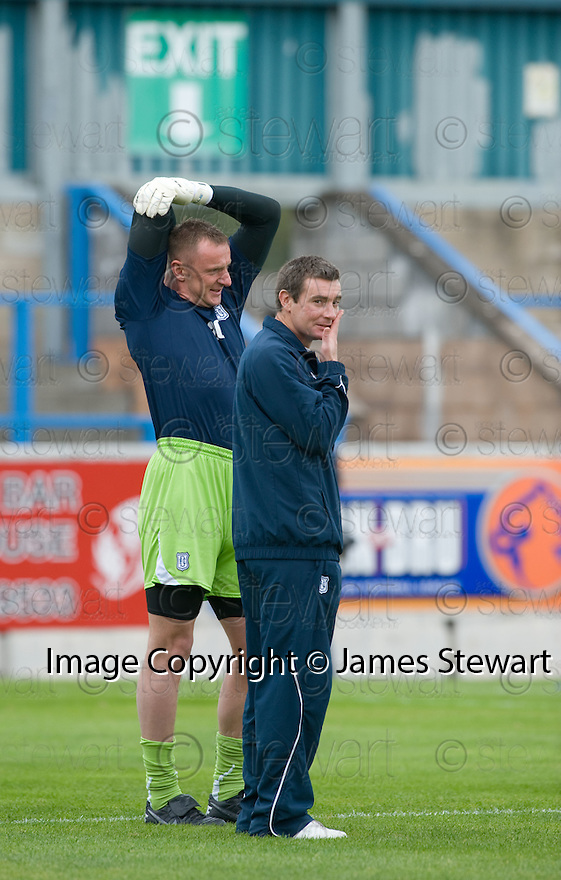 16/10/2010   Copyright  Pic : James Stewart.sct_jsp002_stirling_v_dundee  .::  DUNDEE CARETAKER BOSSES BARRY SMITH AND RAB DOUGLAS BEFORE THE GAME ::  .James Stewart Photography 19 Carronlea Drive, Falkirk. FK2 8DN      Vat Reg No. 607 6932 25.Telephone      : +44 (0)1324 570291 .Mobile              : +44 (0)7721 416997.E-mail  :  jim@jspa.co.uk.If you require further information then contact Jim Stewart on any of the numbers above.........