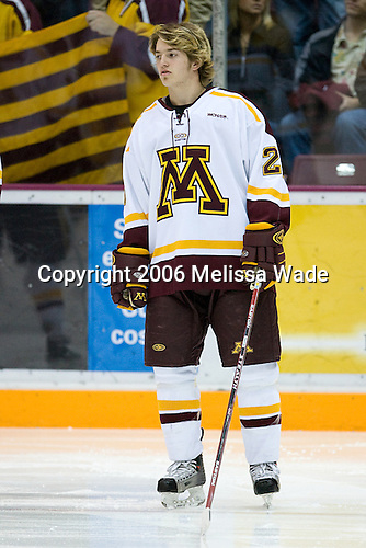Jay Barriball (University of Minnesota - Prior Lake, MN) lines up. The University of Minnesota Golden Gophers defeated the Michigan State University Spartans 5-4 on Friday, November 24, 2006 at Mariucci Arena in Minneapolis, Minnesota, as part of the College Hockey Showcase.