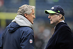 Seattle Seahawks owner Paul Allen, right, and Head Coach Pete Carroll, left, and Philadelphia Eagle owner Jeffery Lurie, middle,  talk before their game with the  sat CenturyLink Field in Seattle, Washington on November 20, 2016.  Seahawks beat the Eagles 26-15.  ©2016. Jim Bryant Photo. All Rights Reserved.