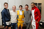 Fashion designer Trey Pasquariello (far on right) and (Trey Pasquariello) second from left) pose with models during the New York School of Design Spring Summer 2018 fashion show presentation at Calligaris on 55 Thompson Street on September 7, 2017 during New York Fashion Week.