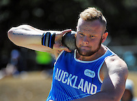 Auckland's Adam Miller competes in the senior men's shot put on day three of the 2015 National Track and Field Championships at Newtown Park, Wellington, New Zealand on Sunday, 8 March 2015. Photo: Dave Lintott / lintottphoto.co.nz