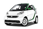 Stock pictures of low aggressive front three quarter view of a 2013 Smart FOR TWO Electric Drive 2 Door Convertible Low Aggressive