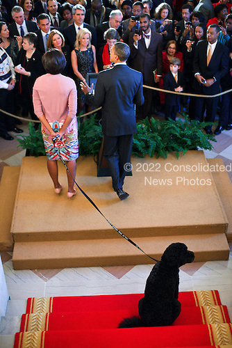 United States President Barack Obama is joined by First Lady Michelle Obama and Bo, the family dog, as he delivers remarks during a Christmas holiday reception in the Grand Foyer of the White House, December 15, 2010. .Mandatory Credit: Pete Souza - White House via CNP