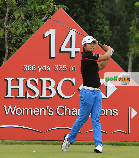 Haru Nomura (JPN) on the 14th tee during Round 2 of the HSBC Women's Champions on Friday 3rd March 2017.<br /> Picture:  Thos Caffrey / Golffile