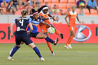 Houston, TX - Sunday June 19, 2016: Desiree Scott, Chioma Ubogagu during a regular season National Women's Soccer League (NWSL) match between the Houston Dash and FC Kansas City at BBVA Compass Stadium.