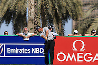 Nicolas Colsaerts (BEL) tees off on the 9th tee during Sunday's Final Round of the 2012 Omega Dubai Desert Classic at Emirates Golf Club Majlis Course, Dubai, United Arab Emirates, 12th February 2012(Photo Eoin Clarke/www.golffile.ie)