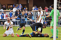 San Jose, CA - Saturday May 27, 2017: Danny Hoesen, Chris Wondolowski during a Major League Soccer (MLS) match between the San Jose Earthquakes and the Los Angeles Galaxy at Avaya Stadium.