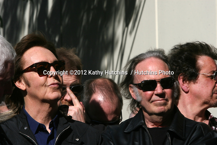 LOS ANGELES - FEB 9:  Paul McCartney, Neil Young at the Hollywood Walk of Fame Ceremony for Paul McCartney at Capital Records Building on February 9, 2012 in Los Angeles, CA