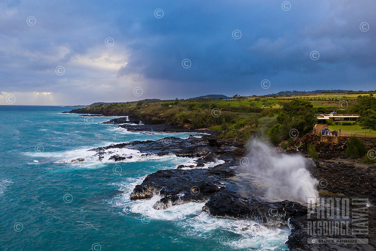 Poipu Spouting Horn seen from above Spout Horn in Po'ipu, Kaua'i.