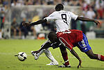 11 October 2008: Jozy Altidore (USA) (9) scored a late goal after getting past Carlos Domingo Francisco (CUB) (13). The United States Men's National Team defeated Cuba Men's National Team 6-1 at RFK Stadium in Washington, DC in a CONCACAF semifinal round FIFA 2010 South Africa World Cup Qualifier.