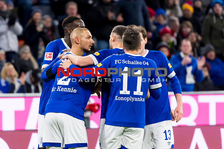 09.02.2019, Allianz Arena, Muenchen, GER, 1.FBL,  FC Bayern Muenchen vs. FC Schalke 04, DFL regulations prohibit any use of photographs as image sequences and/or quasi-video, im Bild Jubel nach dem Tor zum 1-1 durch Ahmed Kutucu (Schalke #15) mit Weston McKennie (Schalke #2) Salif Sane (Schalke #26) Jewhen Konopljanka (Schalke #11) Sebastian Rudy (Schalke #13) <br /> <br />  Foto &copy; nordphoto / Straubmeier