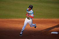 Florida Fire Frogs right fielder Justin Ellison (16) runs the bases during a game against the St. Lucie Mets on April 19, 2018 at Osceola County Stadium in Kissimmee, Florida.  St. Lucie defeated Florida 3-2.  (Mike Janes/Four Seam Images)