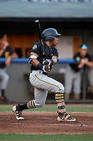 Bristol Pirates center fielder Jonah Davis (14) follows through on a swing during a game against the Bluefield Blue Jays on July 26, 2018 at Bowen Field in Bluefield, Virginia.  Bristol defeated Bluefield 7-6.  (Mike Janes/Four Seam Images)