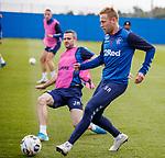 18.09.2019 Rangers training: Scott Arfield and Jamie Murphy
