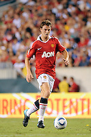 Jonny Evans (23) of Manchester United. Manchester United (EPL) defeated the Philadelphia Union (MLS) 1-0 during an international friendly at Lincoln Financial Field in Philadelphia, PA, on July 21, 2010.
