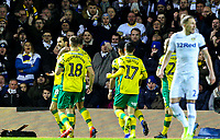 Norwich City's Mario Vrancic celebrates scoring the opening goal with teammates<br /> <br /> Photographer Alex Dodd/CameraSport<br /> <br /> The EFL Sky Bet Championship - Leeds United v Norwich City - Saturday 2nd February 2019 - Elland Road - Leeds<br /> <br /> World Copyright © 2019 CameraSport. All rights reserved. 43 Linden Ave. Countesthorpe. Leicester. England. LE8 5PG - Tel: +44 (0) 116 277 4147 - admin@camerasport.com - www.camerasport.com