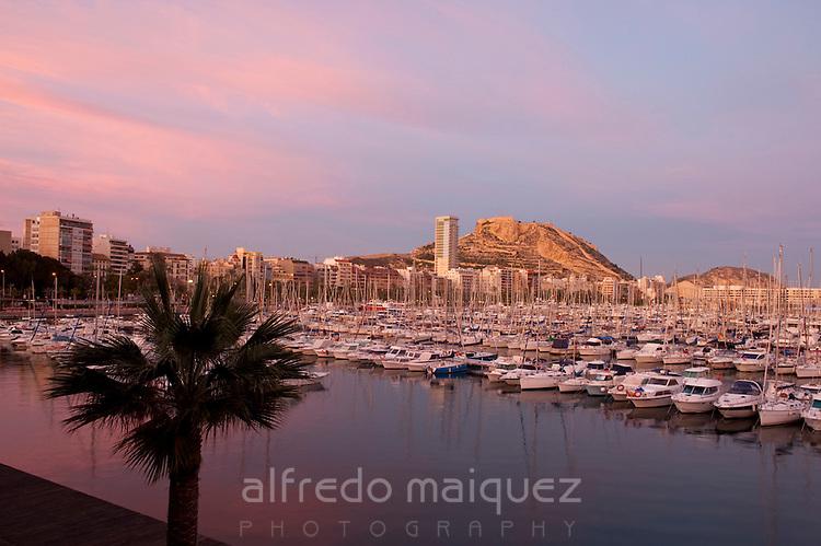 Alicante city from Royal yacht club marina, Alicante City, Costa Blanca, Spain