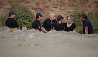 Pictured: Detective Inspector Jon Cousins (C) joins forensic archaeologists at the second site in Kos, Greece. Wednesday 12 October 2016<br /> Re: Police teams led by South Yorkshire Police are searching for missing toddler Ben Needham on the Greek island of Kos.<br /> Ben, from Sheffield, was 21 months old when he disappeared on 24 July 1991 during a family holiday.<br /> Digging has begun at a new site after a fresh line of inquiry suggested he could have been crushed by a digger.
