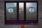 Connah's Quay Nomads 1 Llandudno 1, 20/09/2016. Deeside Stadium, Welsh Premier League. The home club logo on a window of the stand at the Deeside Stadium before Connah's Quay Nomads played Llandudno in a Welsh Premier League match. Both clubs represented Wales in the 2016-17 Europa League, the first time either had competed in European competition. The match ended in a 1-1 draw, watched by 181 spectators. Photo by Colin McPherson.
