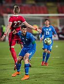 27th March 2018, Karadjorde Stadium, Novi Sad, Serbia; Under 21 International Football Friendly, Serbia U21 versus Italy U21; Forward Alberto Cerri of Italy pushes into the back of Uros Racic of Serbia
