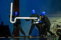 Blue Man Group performs to a packed crowd at the Venitian Hotel, Las Vegas, Nevada.