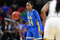 College Park, MD - March 25, 2019: UCLA Bruins guard Japreece Dean (24) brings the ball up court during second round game of NCAAW Tournament between UCLA and Maryland at Xfinity Center in College Park, MD. UCLA advanced to the Sweet 16 defeating Maryland 85-80.(Photo by Phil Peters/Media Images International)