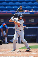 Brevard County Manatees designated hitter Dustin Houle (9) at bat during a game against the St. Lucie Mets on April 17, 2016 at Tradition Field in Port St. Lucie, Florida.  Brevard County defeated St. Lucie 13-0.  (Mike Janes/Four Seam Images)