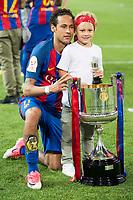 FC Barcelona's forward Neymar Santos Jr with his daughter during Copa del Rey (King's Cup) Final between Deportivo Alaves and FC Barcelona at Vicente Calderon Stadium in Madrid, May 27, 2017. Spain.<br /> (ALTERPHOTOS/BorjaB.Hojas) /NortePhoto.com
