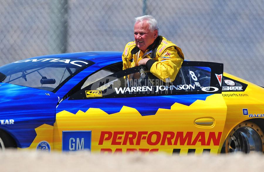 Apr. 13, 2008; Las Vegas, NV, USA: NHRA pro stock driver Warren Johnson during the SummitRacing.com Nationals at The Strip in Las Vegas. Mandatory Credit: Mark J. Rebilas-