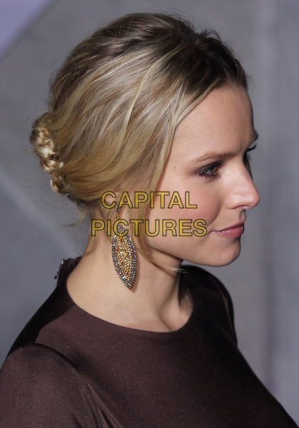 "KRISTEN BELL .""When In Rome"" Los Angeles Premiere - Arrivals held at The El Capitan Theater, Hollywood, CA, USA, .27th January 2010..portrait headshot hair up earring dangly gold profile brown plait braid bun  .CAP/ADM/CH.©Charles Harris/AdMedia/Capital Pictures"