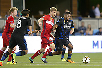 San Jose, CA - Wednesday September 27, 2017: Anibal Godoy during a Major League Soccer (MLS) match between the San Jose Earthquakes and the Chicago Fire at Avaya Stadium.