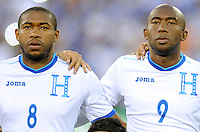 Washington, D.C.- May 29, 2014. Honduras midfielder Wilson Palacios with teammate Honduras forward Jerry Palacios.  Turkey defeated Honduras 2-0 during an international friendly game at RFK Stadium.