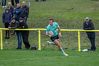 Ben Foley of Nottingham Rugby scores a try during the Greene King IPA Championship match between Ampthill RUFC and Nottingham Rugby on Ampthill Rugby's Championship Debut at Dillingham Park, Woburn St, Ampthill, Bedford MK45 2HX, United Kingdom on 12 October 2019. Photo by David Horn.