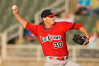 Justin De Fratus #30 of the Lakewood BlueClaws in action versus the Kannapolis Intimidators at Fieldcrest Cannon Stadium July 10, 2009 in Kannapolis, North Carolina. (Photo by Brian Westerholt / Four Seam Images)